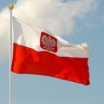 Polish Flag with a White Eagle Image