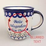 Polish Pottery 12oz Mug - BOZE BLOGOSLAW, GOD BLESS