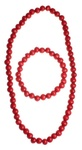 Polish Wooden Bead Necklace and Bracelet Set - Red