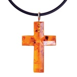 Pressed Amber Cross Necklace, 1.25 inches