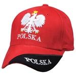Red Baseball Cap - POLSKA, White Eagle, Black Stripe