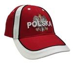 Red Baseball Cap - POLSKA on White Eagle