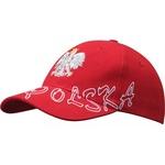 Red Baseball Cap - Silver Ealge & White POLSKA Outline