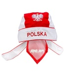 Red & White Bandana - Cotton Skull Hat, Silver Polish Eagle