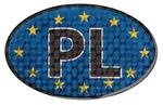 Reflective Car Sticker - European Union Flag & PL