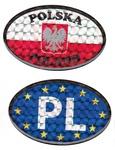 Reflective Car Sticker - EU & PL Flags, Set of 2