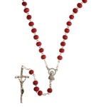 Scented Wooden Rosary with Metal Roses & Crucifix, 17 inch