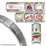 Set of 7 Italian Charms + 18 Link Matte Finish Bracelet