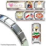 Set of 7 Italian Charms + 18 Link Polished Finish Bracelet