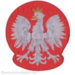 Sew-On Patch - Large Polish White Eagle, Red Background
