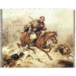 """Silkscreen - J.Kossak: Hunter with Dogs, 10.2"""" x 8.125"""""""