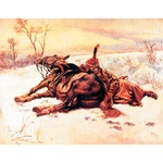 "Silkscreen - W.Kossak: French Hussar with a Horse, 10"" x 7"""