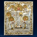 Silver Plated Icon - Christ Receiving Three Great Bishops #1
