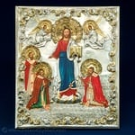 Silver Plated Icon - Christ Receiving Three Great Bishops #2