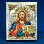 Silver Plated Icon - Christ Pantocrator