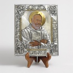 Silver Plated Icon - Father Pio of Pietrelcina, 8x7 inches