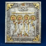 Silver Plated Icon - Four Saints #1