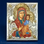 Silver Plated Icon - The Iviron Virgin