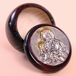 Silver Plated Round Rosary Box - St. Joseph