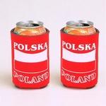 Soda Can or Beer Holder - POLSKA/POLAND & Flag, set of 2