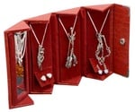 Travel Jewelry Cases - Red, Crocodile Print, Box of 12