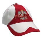 White and Red Baseball Cap - POLSKA on White Eagle