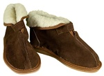 Women's Brown Leather & Wool Slippers with Fold-down Top