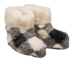 Women's Leather & Checkered Wool Slippers - Boot Style