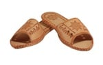 Women's Open Toe Thick Leather Slippers - Star Motif