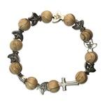 Wood and Metal Rosary Bracelet