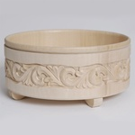 """Wooden Bowl - Foliage Themed Hand Carvings, 8.5"""" W"""