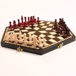 Wooden Chess Set - For Three Players, Small Size 12 inches