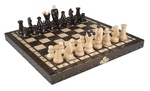 Wooden Chess Set - King Style with Wood Carvings, 11x 11in