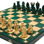 Wooden Chess Set - Royal Green Style, 17x17 inches