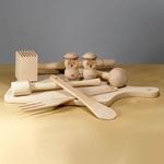 Wooden Kitchen Set - 9 pieces: Board, Mallets, Spoon & Fork