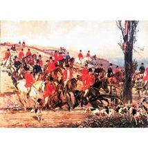 "Silkscreen - W.Kossak: Imperial Hunting in Godollo, 10"" x 7"""