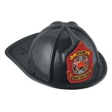 Black Junior Firefighter Plastic Hats