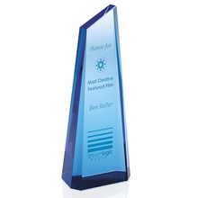 Custom Etched Blue Tower Award