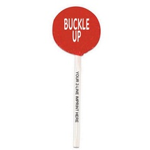 Buckle Up Lollipops with Imprinted Sticks