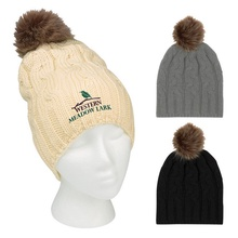 Embroidered Cameron Cable Knit Pom Beanies