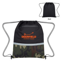 Personalized Camo Accent Drawstring Sports Pack