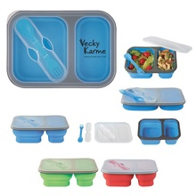 Collapsible 2-Section Logo Food Container with Utensils