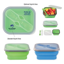 Custom Collapsible Food Container with Dual Utensils