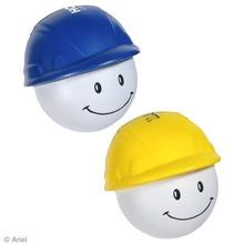 Printed Happy Face Hard Hat Stress Balls