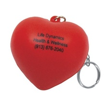 Imprinted Heart Stress Ball Key Chains