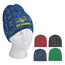 Knit Heathered Beanie Cap with Logo Imprint
