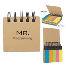 Imprinted Spiral Book with Sticky Notes & Flags