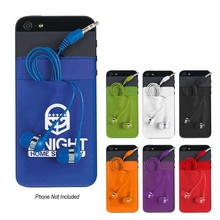 Stretch Phone Customized Card Sleeve with Ear Buds