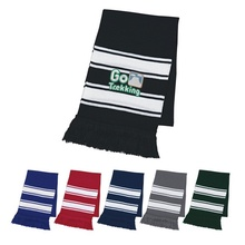 Custom Two-Tone Knit Scarf With Fringe