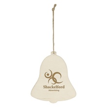 Wood Holiday Bell Ornaments with Imprint
